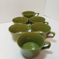 Vintage Allied Chemical Avocado Green Melamine 5 Cups & Creamer Cup  Melmac MCM