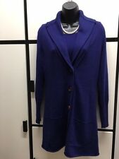 Eileen Fisher S Organic Cotton Cashmere Ultramarine Shawl Collar Long Cardigan