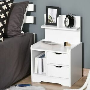 Bedside Table with 2 Drawers and Shelves Storage Organiser Bedroom Living Room