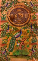 Hand Painted Old Stamp Paper Miniature Painting India Tradition Peacock Art Work