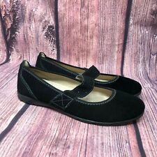 Spring Step Women's Black Suede Mary Jane Ballet Flats Size 38 US 7.5 - 8