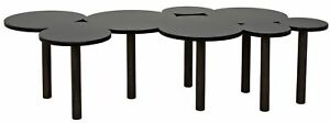 """67.5"""" L Modern Coffee Table Hand Crafted Walnut Legs Stainless Steel Circle Top"""