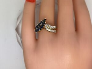 1.35CTTW Natural Blue / White Sapphire 10kt Yellow Gold Ring size 7