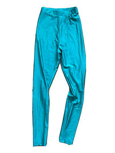 High Waisted Green Teal Leggings 80 Retro Wet Look Size 6