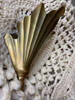 """Vintage Solid Brass Wall Pocket Flower Planter Scallop Shell 11"""" large!! India"""