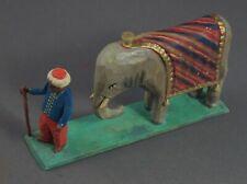 Grulicher Krippenfigur, Elefant mit Treiber, Holz geschnitzt, >7 cm<  (# 11612)