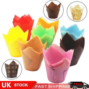 50Pcs Large Tulip Muffin Cases Cupcake/muffin Wraps Multiple Colours Wrapper UK*