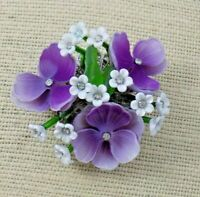 Unique HTF Vintage VENDOME ACRYLIC GLASS RHINESTONE Violet FLOWER CLUSTER BROOCH