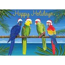 Tropical Happy Holiday 3D Parrots Boxed Xmas Greeting Cards New 12Ct Santa Hats