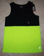 NWT Men's FILA SPORT 2-Tone Live-In-Motion Athletic Tank Tp Black/Yellow - Small