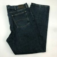 Lee Jeans Mens 40X32 Blue Regular Fit Straight Leg Cotton Dark Wash 5 Pockets