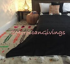 "Moroccan hand woven Pom Pom Blanket /100% natural Cotton,79""Wx118""L/ 200Wx300L."
