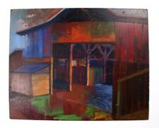 Emil Donato Artist Acrylic Painting Rustic Primitive Red Barn 20