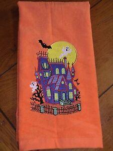 Embroidered Terry Hand Towel - Halloween - Purple Haunted House  - Orange Towel