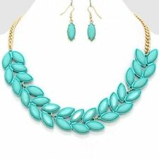 GOLD/MINT RESIN ENAMEL LEAF CHAIN STATEMENT NECkLACE AND EARRING SET B 8
