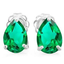 10K SOLID WHITE GOLD RUSSIAN  EMERALD EARRINGS HALLMARKED GENUINE 1.5 CWT