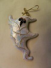 NICE GLASS GHOST ORNAMENT - SPARKLE & GOLD TRIM - EUC