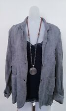 Mojito Gray Linen Jacket Blazer Top Size M Long Sleeve Bohemian Made In Italy