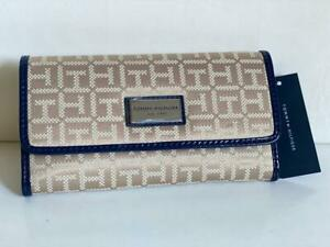 NEW! TOMMY HILFIGER BROWN BLUE CONTINENTAL CHECKBOOK CLUTCH PURSE WALLET SALE