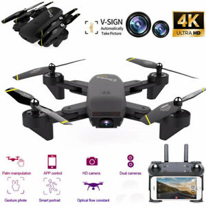 Mini Drone Selfie WIFI FPV Dual HD Camera Foldable Arm RC Quadcopter Toy