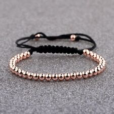 Men 4mm Micro Pave Zircon Round Bead Braided Macrame Women Rose Gold Bracelets