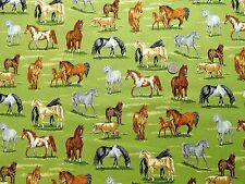 In the country Horses fabric fq 50 x 56 cm Nutex 89310-105 100% Cotton