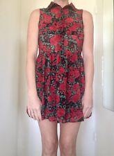 Mink Pink Rose Print Mini Dress Size XS Rock & Roll Biker Sleevless Collar