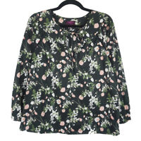 J Crew Liberty Art Fabric Point Sur Peasant Top Womens Black Floral XS