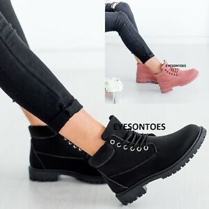 LADIES WARM COMBAT WALKING WOMENS LACE UP ANKLE GRIP SOLE WINTER TRAINERS BOOTS