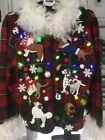 Ugly DOG Christmas Sweater with Two Strands of Lights Women's M Pre-owned