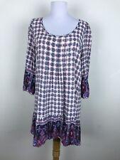 Umgee Tent Dress Size M Boho Geometric 3/4 Sleeves Floral Pink Green Cotton Blnd