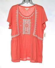 LT256 Style&co. Women's Plus Coral Embroidered Peasant Top Polyester NWT Size 3X