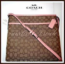 NWT $195 Coach Signature File Bag Leather Trim Crossbody BLUSH PINK & RECEIPT