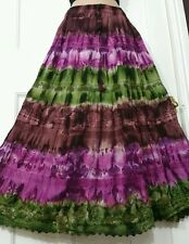 Ladies Cotton Tie&Dye Skirt Crochet&Lace Lined PURPLE /GREEN/BROWN tiered14-22