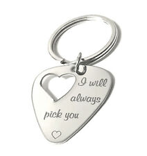 Guitar Pick Key Chain with Heart Cut Out  I will always pick Engraved Guitar Pic
