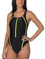Speedo Women's One Piece Quantum Splice Zip Swimsuit - Black/Green - 10