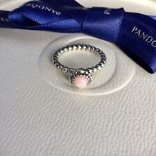 Authentic Pandora October Pink Opal Birthstone Ring Size 52 #190854POP