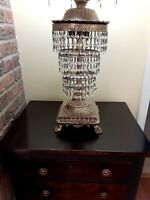 Vintage MCM Hollywood Regency Table Lamp Hanging Crystal Prisms 3 Tiers