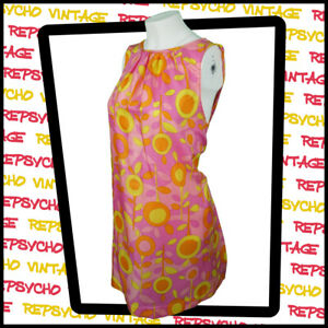 Vintage BEATRICE de PARIS 1960's Mini DRESS Pink/Yellow/Orange UK 10/38   342 G