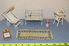 Lot #18 Vintage Doll House Miniature White Baby Nursery Furniture Metal Wood 7pc