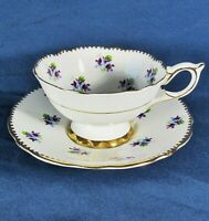 Royal Stafford Sweet Violets,Gold Drop Trim Footed Teacup,Saucer Set Excl Cond