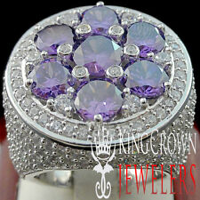 MENS BIG XXL REAL WHITE GOLD SILVER PURPLE AMETHYST JUMBO RING BAND LAB DIAMOND