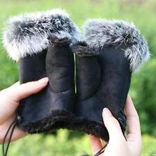 Winter Women Lady Faux Rabbit Fur Mitten Hand Wrist Cape Fingerless Gloves