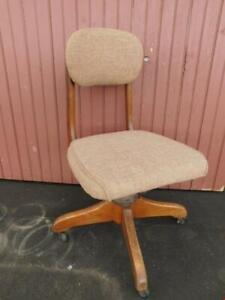old vintage MCM Mid Century Modern wood wooden desk chair office task banker's