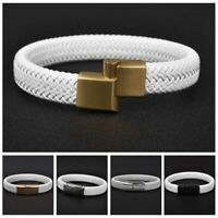 White Leather Braided Bracelet Stainless Steel Magnetic Clasp Bangle for Men