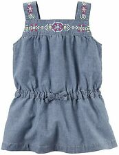 NWT Carter's Girls' Blue Sleeveless Embroidered Chambray Tunic (Size 6)