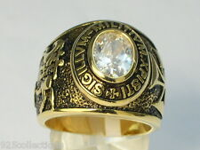 9x7 mm Knights Templar Masonic Mason April Birthstone Clear Men Ring Size 10