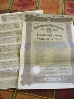 WWI Hamburg German War Reparations Bonds group of 1919 & pamphlet