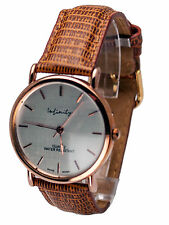 INFINITY: MEN'S GENUINE BROWN LEATHER BAND ROSE GOLD CASE ANALOG QUARTZ WATCH