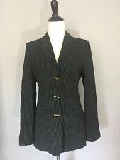 LES COPAINS Black Ivory Stitched Gold Hardware Long Sleeve Blazer Jacket Sz 40